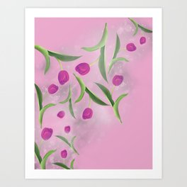 Tulips on Starry Dust Art Print