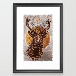 Golden Stag Framed Art Print