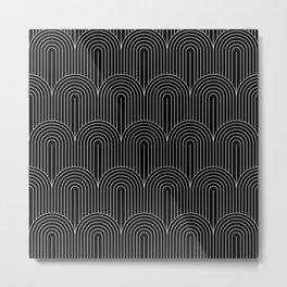 Art Deco Arch Pattern V Black & White Metal Print