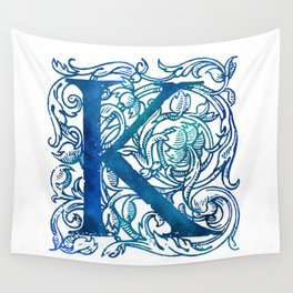 Letter K Antique Floral Letterpress Wall Tapestry