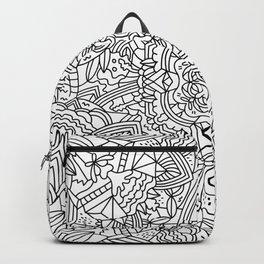 Detailed Mandala Frenzy Black and White Backpack