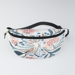 Blush and Blue Floral Pinwheel Fanny Pack
