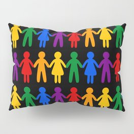 Rainbow People Pattern (black background) Pillow Sham