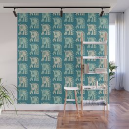 Mid Century Horse Pattern Green and Beige Wall Mural