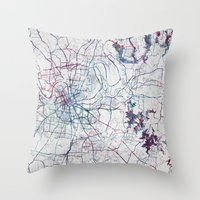 nashville Throw Pillows featuring Nashville by MapMapMaps.Watercolors