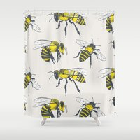 bees Shower Curtains featuring Bees by Tracie Andrews