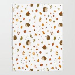 children hedgehog pattern, forest design Poster