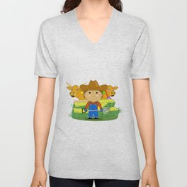Rancher Dude With Cattle (Kawaii Style) Unisex V-Neck