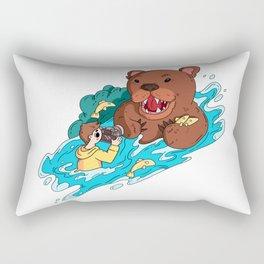 Risky photographer and bear Rectangular Pillow