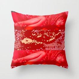hot summer glitch Throw Pillow