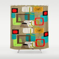 mid century modern Shower Curtains featuring Mid-Century Modern Inspired Abstract by Kippygirl