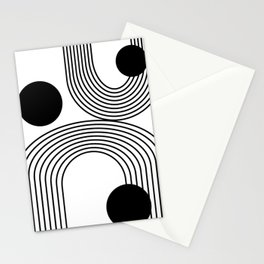 Modern Minimalist Line Art in Black and White Stationery Cards