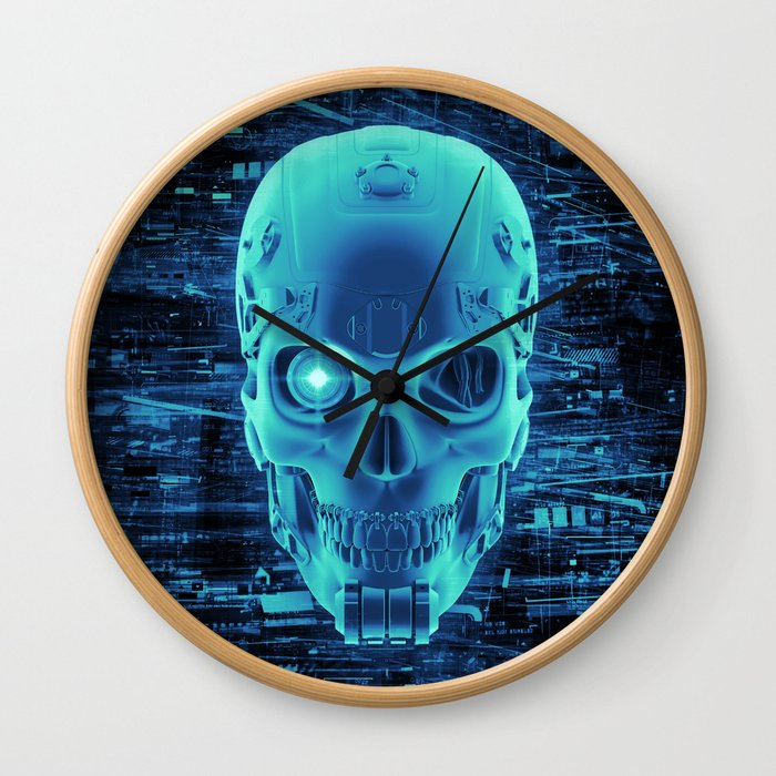 Gamer Skull BLUE TECH / 3D render of cyborg head Wall Clock