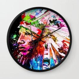 Native American Grunge Portrait Wall Clock