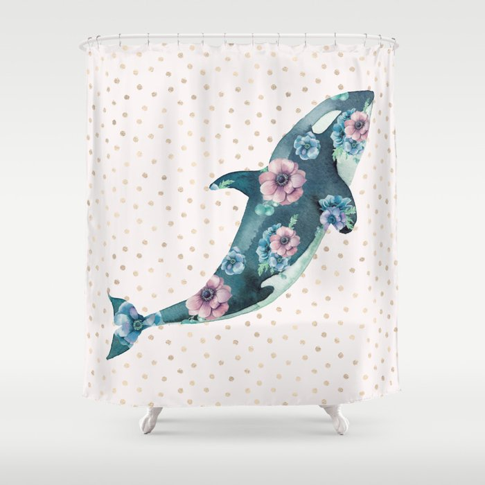Whale Ocean Rose Gold Polka Dot Shower Curtain By Naturemagick
