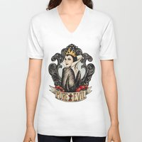 evil queen V-neck T-shirts featuring Evil Queen by Juu Monteiro