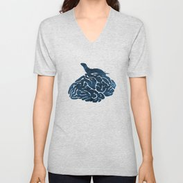 Ferret on a brain Unisex V-Neck