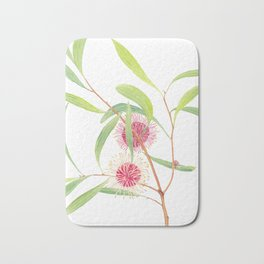 Pincushion Hakea (Hakea Laurina) watercolour; Australian flower Bath Mat