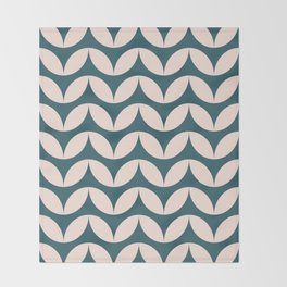 Geometric Leaf Shapes in Teal and Blush Throw Blanket