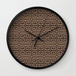 Greek Key Brown Beige Modern Pattern Wall Clock