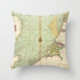 A chart of the Seacoasts of ENGLAND FLANDERS and HOLLAND shewing all the sand shoals Rocks and Dangers, The Bayes, Roads, Harbours, Buoyes and seamark Throw Pillow