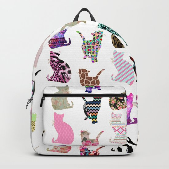 Girly Whimsical Cats aztec floral stripes pattern Backpack