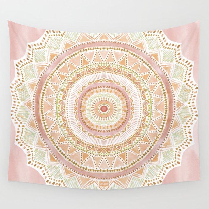 BIG LOVE Rose Gold Mandala Wall Tapestry