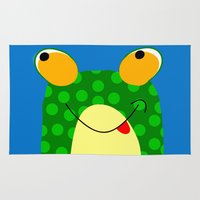 frog Area & Throw Rugs featuring Frog by Jessica Slater Design & Illustration