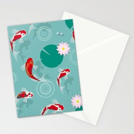 Koi swim in the clear water Stationery Cards