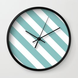 Chalky Blue Diagonal Stripes Wall Clock