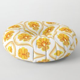 Ivory, Orange, Yellow and Brown Floral Retro Vintage Pattern Floor Pillow
