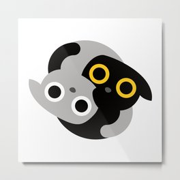 Cute Kitties Hugs together and forming a Yin Yang Metal Print