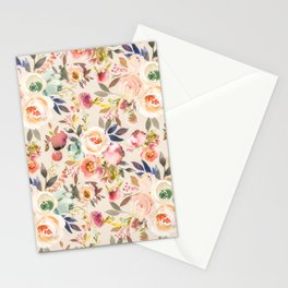 Hand painted ivory pink brown watercolor country floral Stationery Cards
