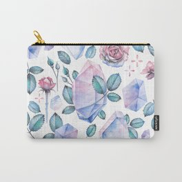 Watercolor crystal and rose leaves Carry-All Pouch