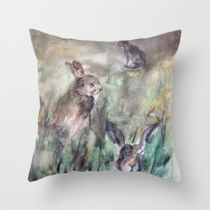 Hare Sketch #1 Throw Pillow
