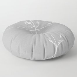 Twig Cross, A Simple Floral White Cross Floor Pillow