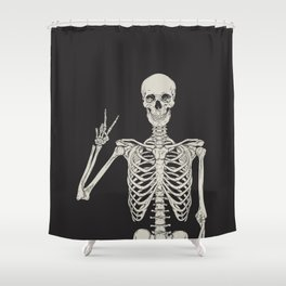 1 Mystic of 94 Magical Mystical Gothic Human Skeleton Giving The Peace Sign Bones Black & White Shower Curtain