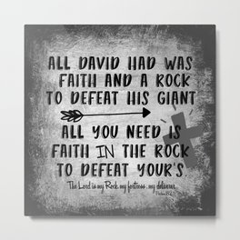The Lord is my Rock Quote with Scripture Metal Print