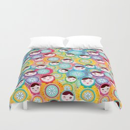 Russian dolls matryoshka, pink blue green colors colorful bright pattern Duvet Cover