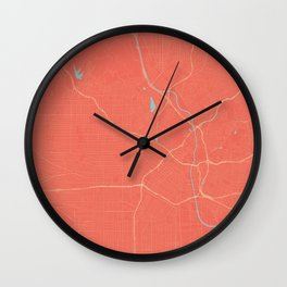Los Angeles, California City Map in Coral Pink Wall Clock