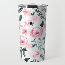 Floral Rose Watercolor Flower Pattern Travel Mug