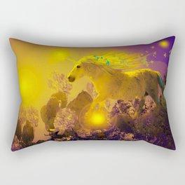 Unicorn In The Night Of Glow - My Fantasy Garden - #society6 Rectangular Pillow
