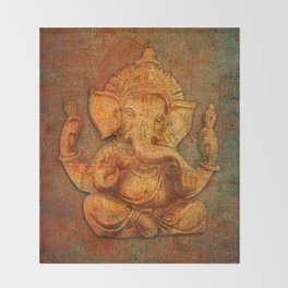 Lord Ganesh On a Distress Stone Background Throw Blanket