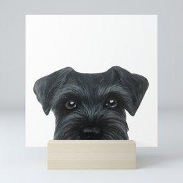 Black Schnauzer, Dog illustration original painting print Mini Art Print