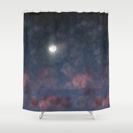 Glowing Moon on the night sky through pink clouds Shower Curtain