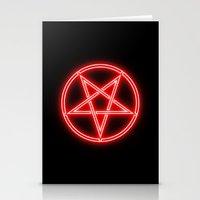 pentagram Stationery Cards featuring Bright Neon Red Pentagram by PodArtist