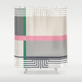 Geen line - white graphic Shower Curtain