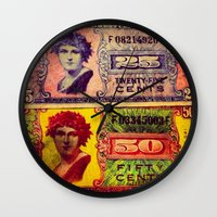 military Wall Clocks featuring WWII US Military Money by Amber Dawn Hilton