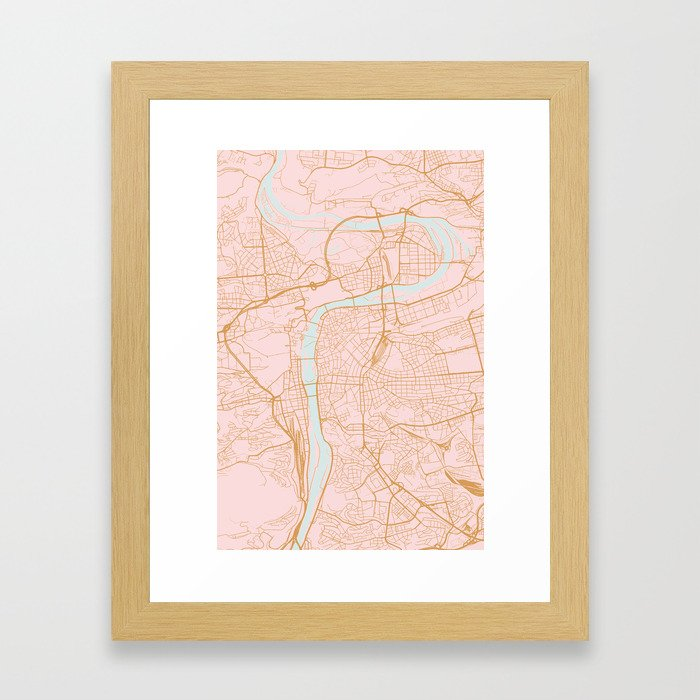 Prague map Gerahmter Kunstdruck