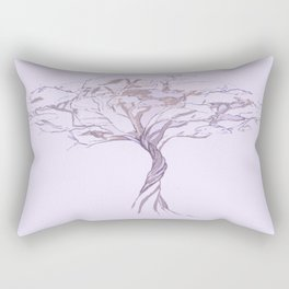 Quiet Acacia Zen Tree , Earthy African Bonsai Peace Lavendar Purple Rectangular Pillow